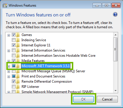 Windows Features dialog with .NET Framework and OK highlighted.