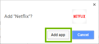 App addition conformation dialog with Add App highlighted.