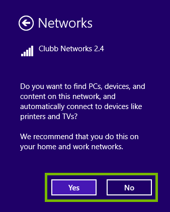 Dialog asking if you want to find PC, or devices on the network with the Yes and No buttons highlighted.