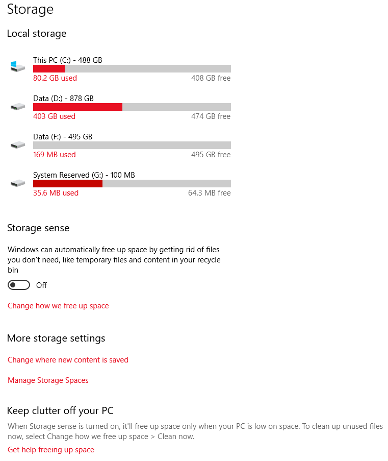 Windows 10 storage page