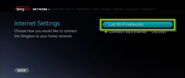 List Wi-Fi networks option highlighted on Internet Settings screen.