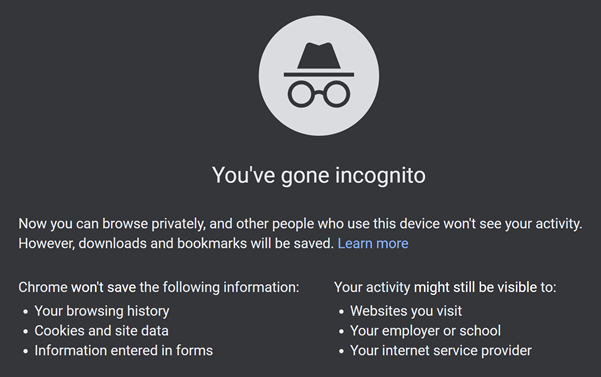 Incognito home screen