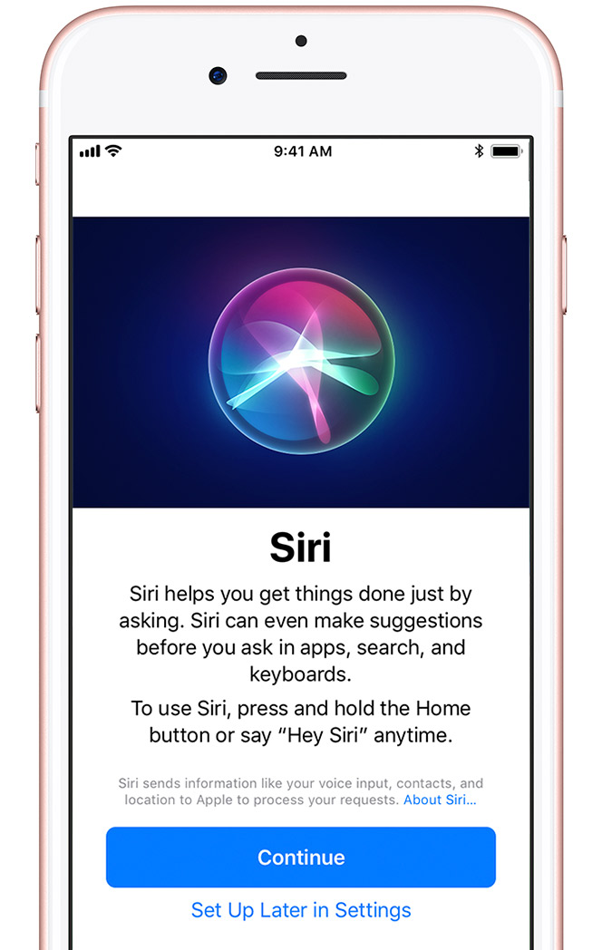 Siri intro screen with Continue button and Sign Up Later in Settings option.