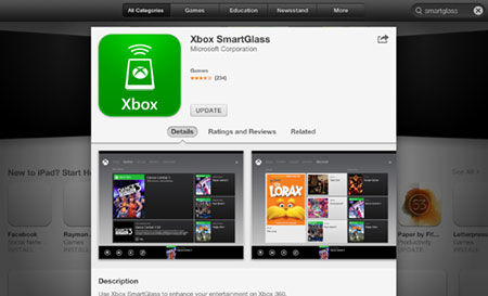 Xbox SmartGlass app in the App Store. Screenshot.