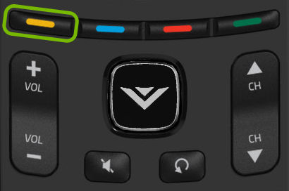 Yellow button highlighted on VIZIO remote.