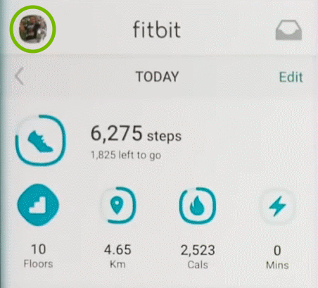 Account icon highlighted in Fitbit app.