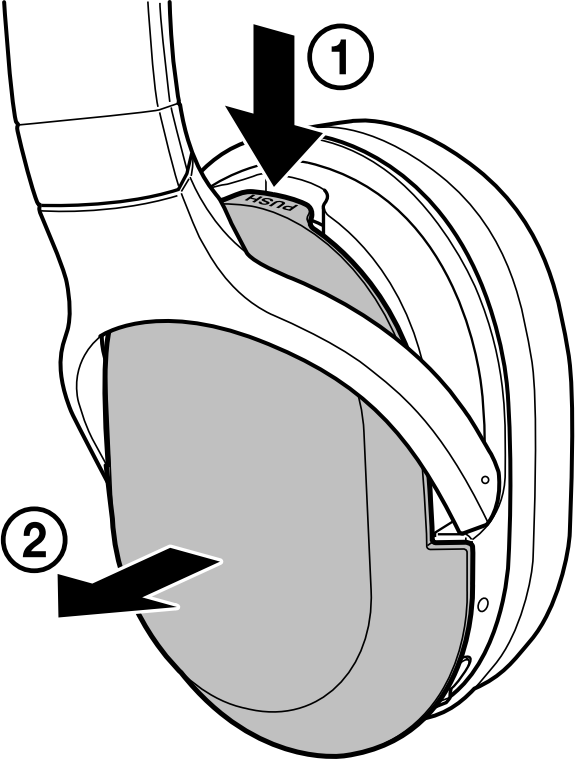 Removing the battery cover from the earcup. Illustration.