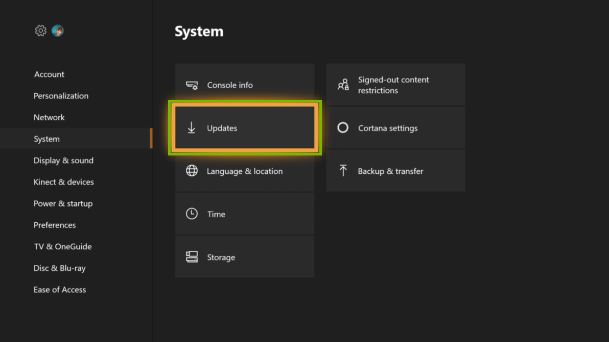 System settings with Updates menu selected. Screenshot.