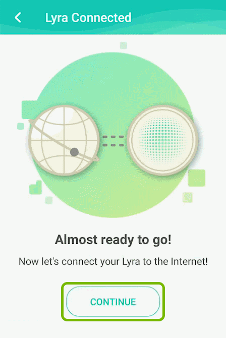 Continue option highlighted on internet connection screen of ASUS Lyra app.