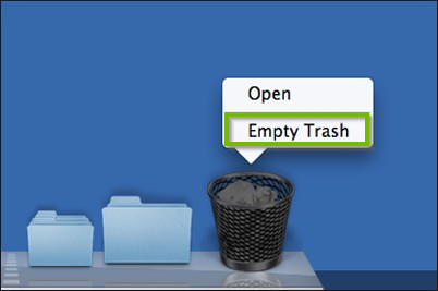 Trash bin icon shown in the dock with context menu and Empty trash highlighted. Screenshot.