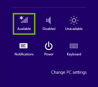 Charms bar Settings with the network icon highlighted.