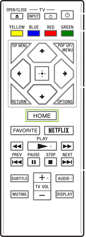 Diagram of remote with Home button highlighted.