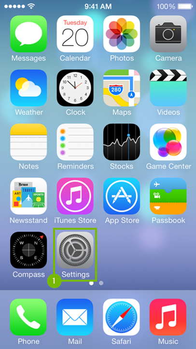 Home screen with setting icon highlighted.