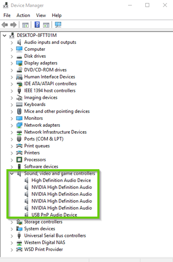 Windows 10 device manager showing sound devices expanded