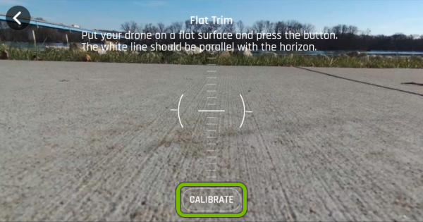 Calibrate button highlighted in FreeFlight Pro app.