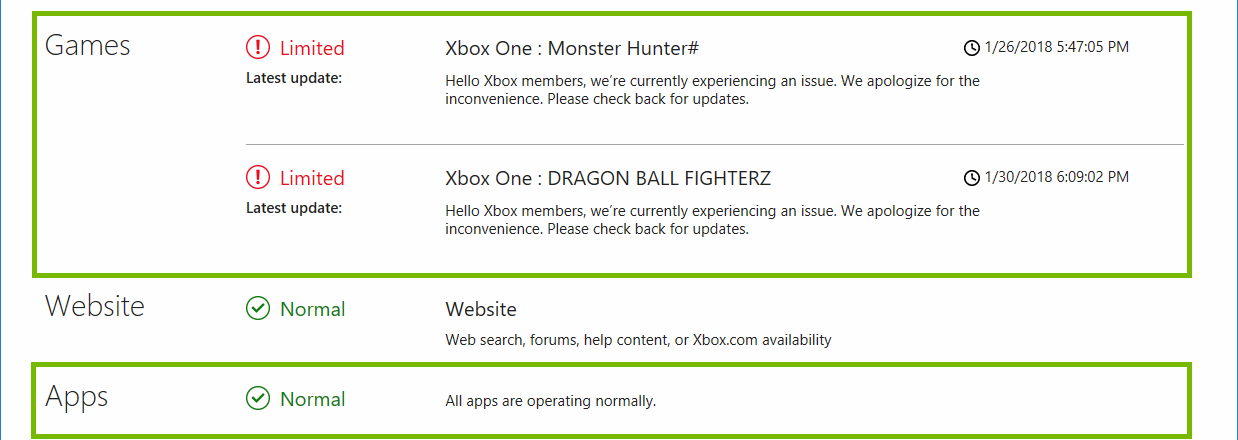 Xbox Live Status web page highlighting the Games and Apps service statuses.