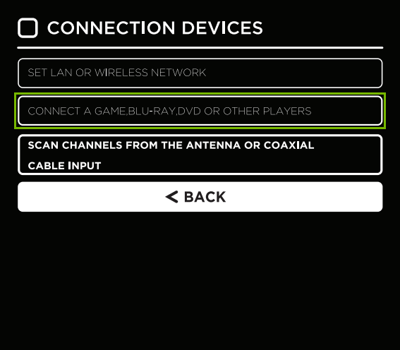 Connection Setup Screen