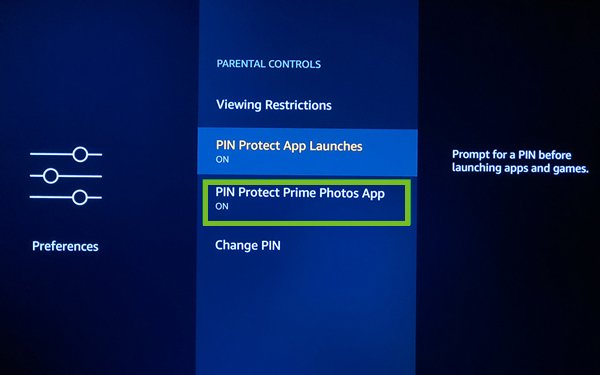 PIN protecting prime photos