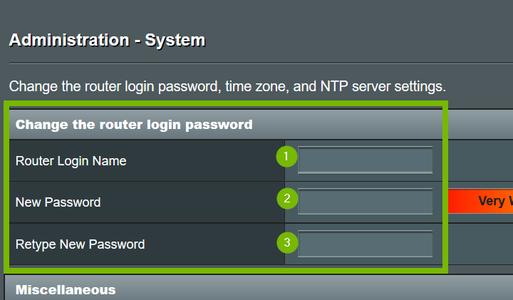 Fields for Router login name, new password, and retype new password. Screenshot.