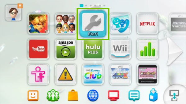 System highlighted on Wii U main screen.