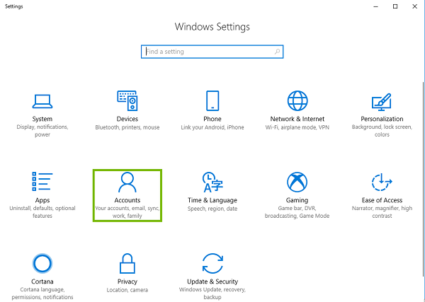 Windows settings with Accounts highlighted.