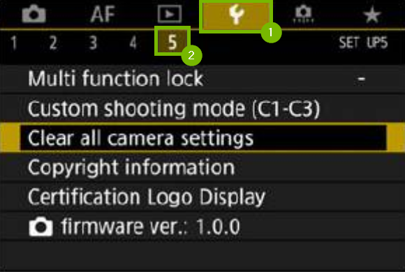 settings menu with wrench highlighted and sub menu 5 below highlighted