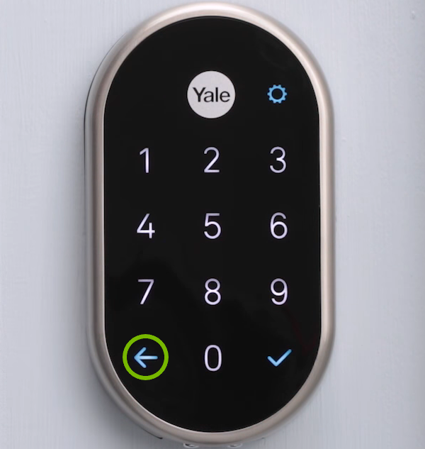 Left arrow highlighted on lock keypad.
