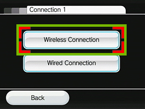 menu with wireless connection highlighted