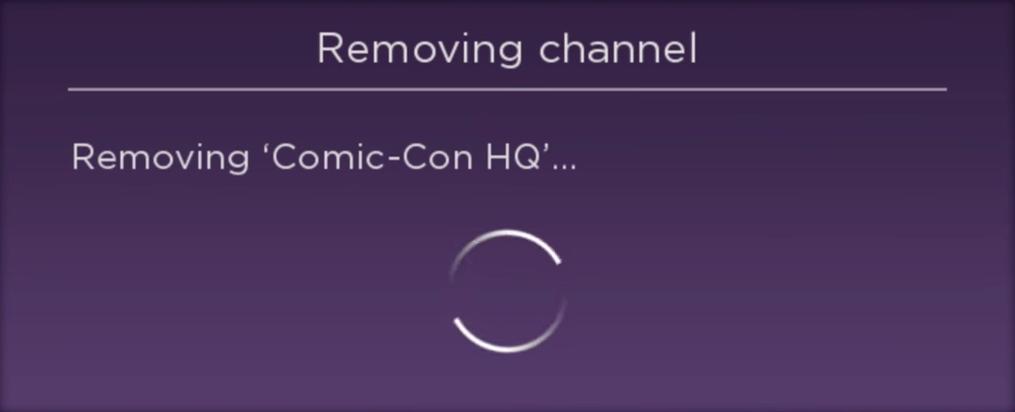 Roku TV channel removal progress.