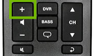 Volume and channel section of remote with Volume up highlighted.