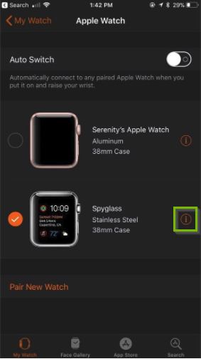 Apple watch app highlighting current watch's info button.