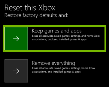 Remove everything option highlighted when resetting Xbox.