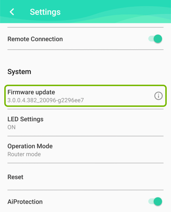 Firmware Update option highlighted in settings of ASUS Lyra app.