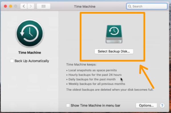 backup disk via Time machine