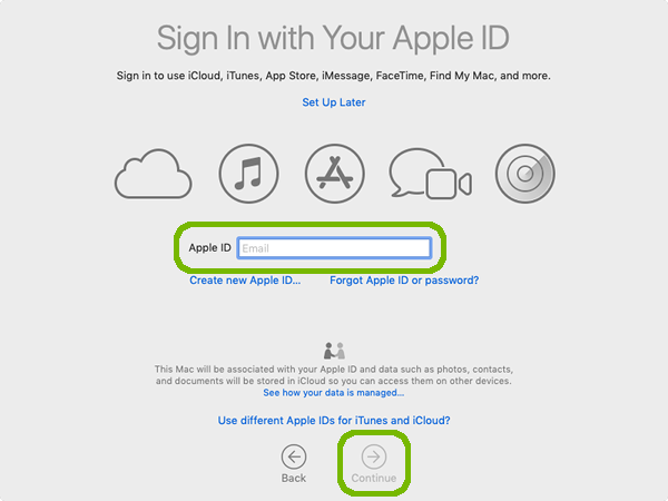 Apple ID sign in with continue highlighted.