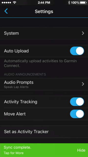 Sync complete notification