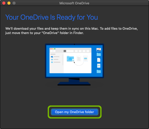 Setup complete, with Open my OneDrive folder button highlighted.