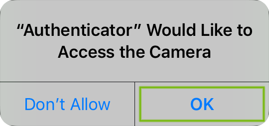 Camera Permissions dialog with OK highlighted.