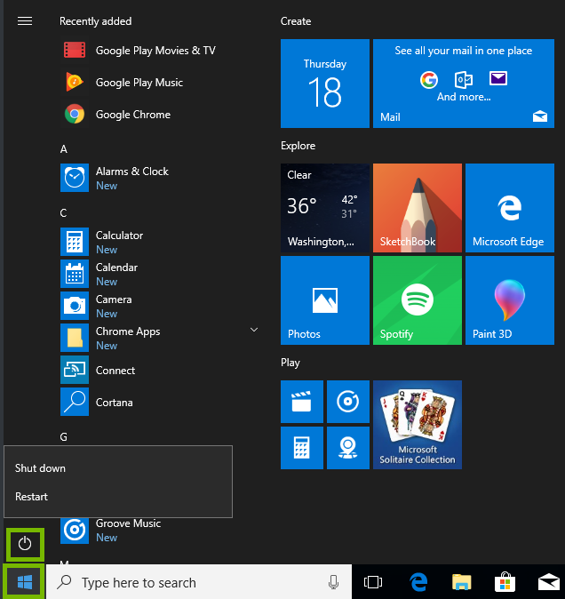 Screenshot of the windows start menu with the start button and power button highlighted