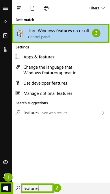 Start menu with features and turn windows features on highlighted. Screenshot