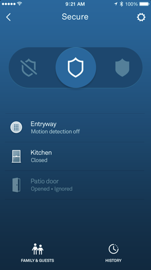 Nest secure app showing home and guarding