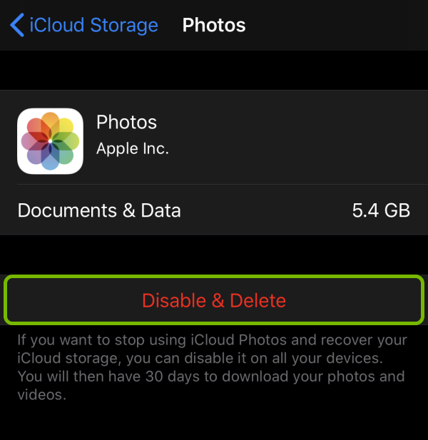 Disable & Delete option highlighted for iCloud Photos on iOS.