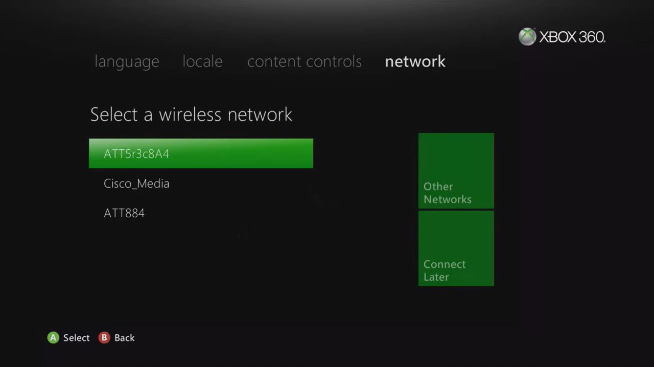 Xbox 360 initial Wi-Fi setup screen displaying a list of available networks.