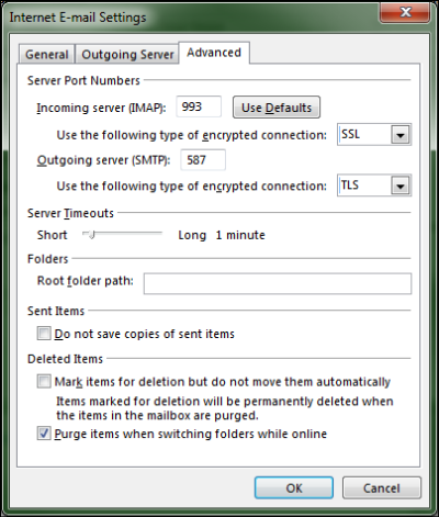 Outlook advanced email settings