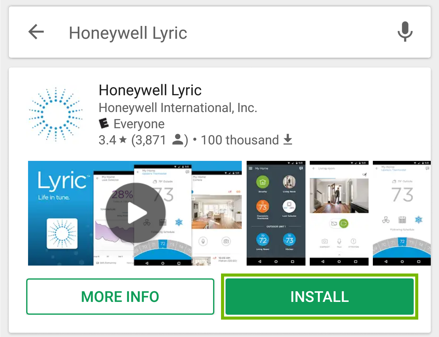 Picture indicating to press the install button for the Honeywell Lyric app