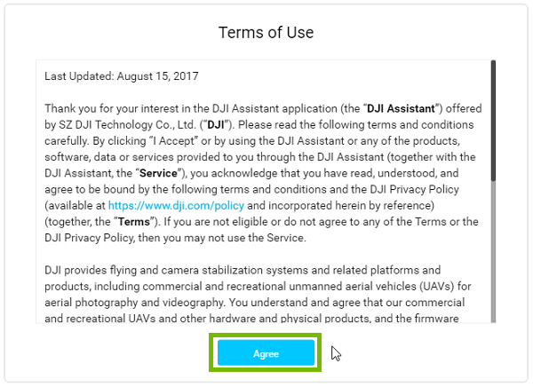 DJI Assistant start page with agree highlighted. Screenshot