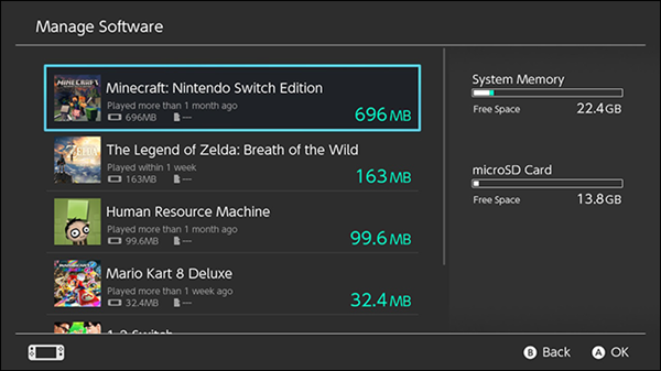 Nintendo Switch manage software selections