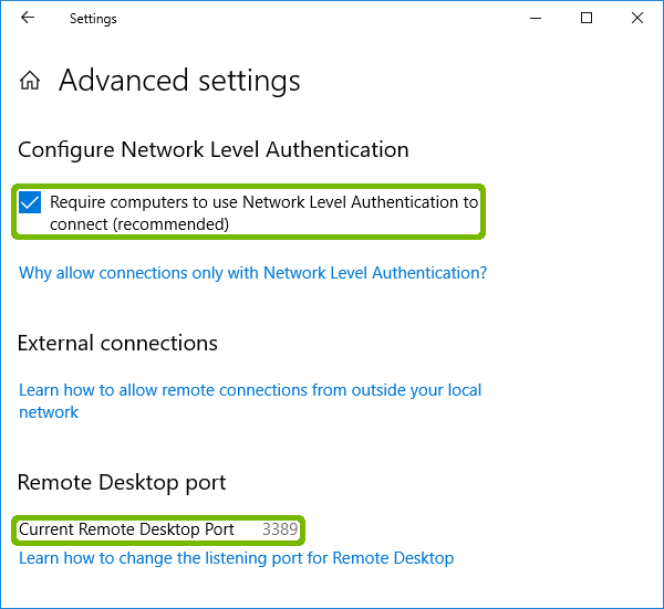 Remote Desktop Advanced Settings with Require NLA and Current Port highlighted.