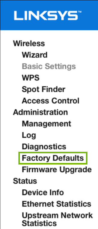 Factory Defaults highlighted