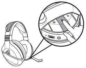 Turtle Beach Stealth 700 headphones highlighting the Bluetooth button. Illustration.